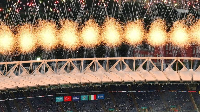 11июня. Рим. Салют вчесть открытия чемпионата Европы наОлимпийском стадионе.