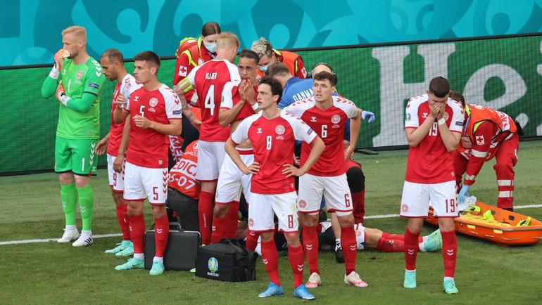 Игроки сборной Дании уКристиана Эриксена. Фото AFP