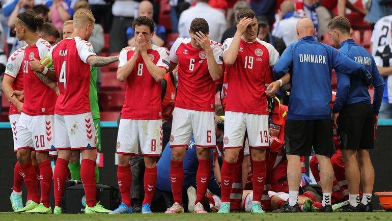 Игроки сборной Дании уКристиана Эриксена. Фото Reuters
