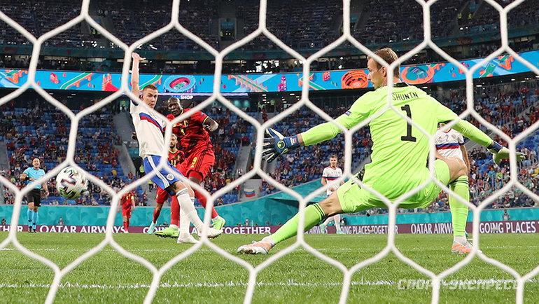 Ромелу Лукаку забивает первый гол. Фото Александр Федоров, «СЭ» / Canon EOS-1D X Mark II