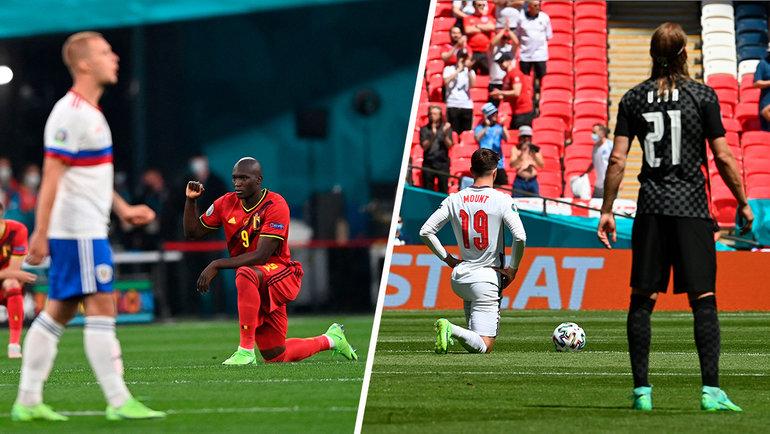 Бельгийцы иангличане преклоняют колено перед матчами.