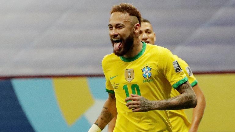 13июня. Бразилиа. Бразилия— Венесуэла— 3:0. 64-я минута. Неймар празднует второй гол. Фото Reuters
