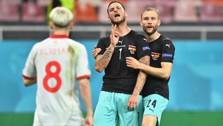 13июня. Бухарест. Австрия— Македония— 3:1. 89-я минута. Марко Арнаутович (вцентре). Фото Reuters