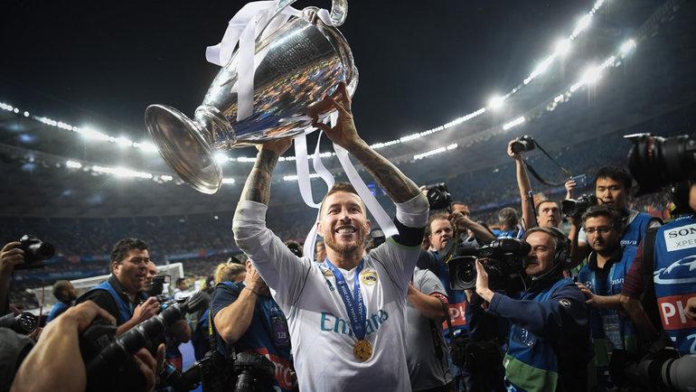 Серхио Рамос скубком Лиги чемпионов в2018 году. Фото Getty Images