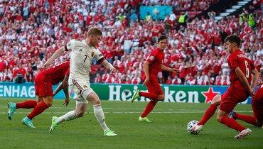 17июня. Копенгаген. Дания— Бельгия— 1:2. 55-я минута. Кевин ДеБрейне (№ 7) отдает голевую передачу.