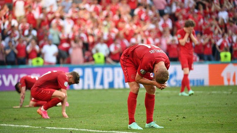 17июня. Копенгаген. Дания— Бельгия— 1:2. Игроки сборной Дании после финального свистка. Фото AFP