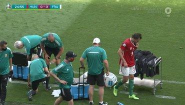 Упавшего вовремя матча венгра Солои заменили вматче Евро сФранцией