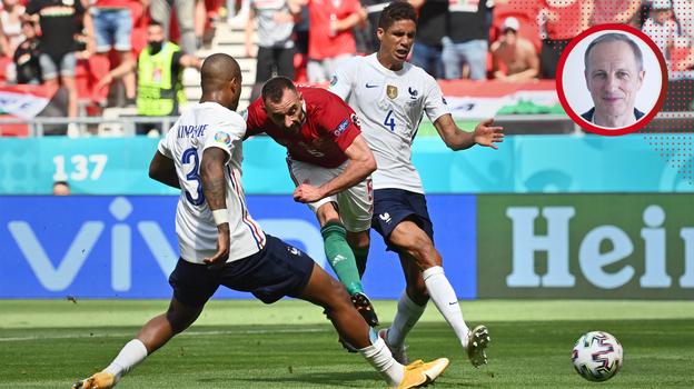19июня. Будапешт. Венгрия— Франция— 1:1. Аттила Фиола забивает гол. Фото AFP