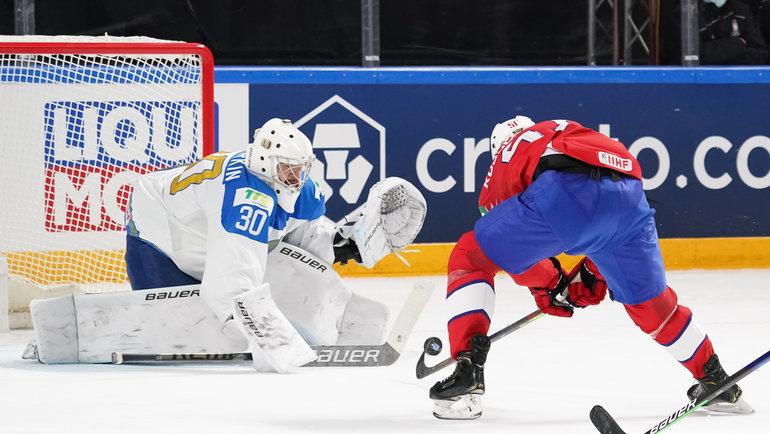 Никита Бояркин вматче против Норвегии наЧМ-2021. Фото IIHF