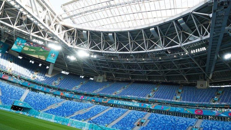 Стадион вСанкт-Петербурге перед началом матча. Фото Сборная Бельгии.