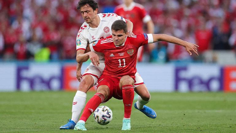 Роман Зобнин в матче против Дании. Фото Getty Images