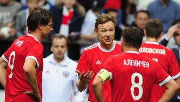 Егор Титов (слева), Валерий Карпин иДмитрий Аленичев.