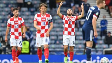22июня. Глазго. Хорватия— Шотландия— 3:1. 17-я минута. Никола Влашич (№ 13) открыл счет вматче.
