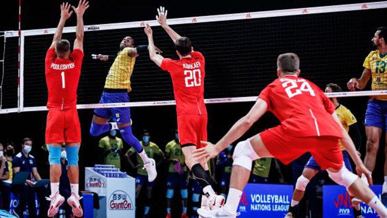 Россия завершила выступление вЛиге наций победой над Бразилией. Фото ВФВ