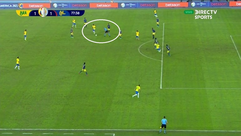 Скриншот трансляции матча Бразилия— Колумбия.