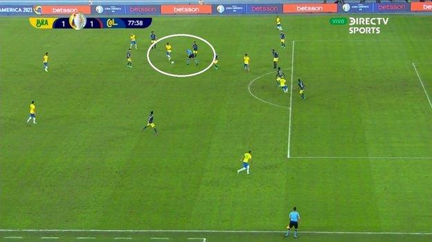 Скриншот трансляции матча Бразилия - Колумбия.