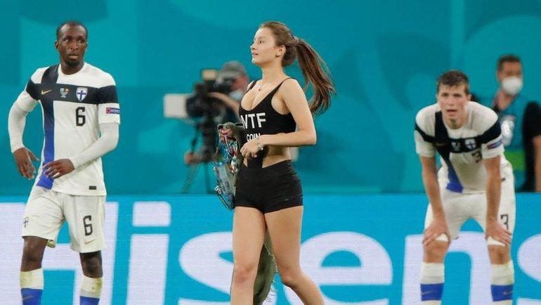 20-летняя Мария вовремя матча Евро вСанкт-Петербурге Финляндия— Бельгия, 21июня 2021 года.