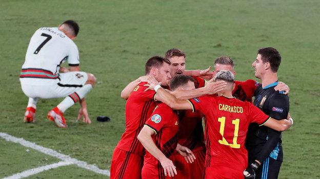 27июня. Севилья. Бельгия— Португалия— 1:0. Радость бельгийских футболистов. Фото AFP