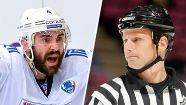Вместо рефери КрисаЛи (справа) критика болельщиков достается хоккеисту экс-хоккеисту «Металлурга» КрисуЛи.
