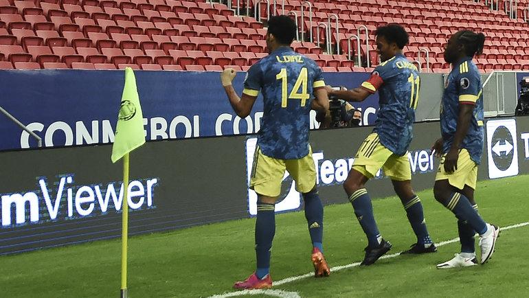 10июля. Колумбия— Перу— 3:2. Радость колумбийцев. Фото Twitter