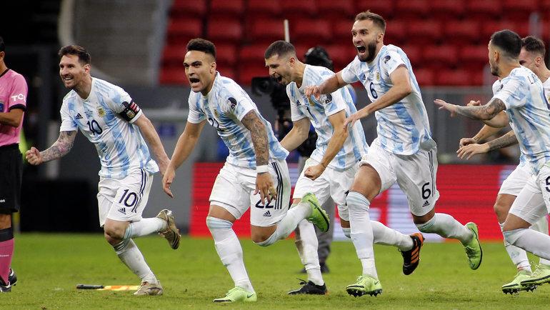 Игроки сборной Аргентины празднуют победу в Кубке Америки. Фото Twitter