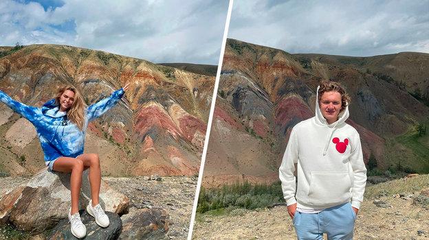 Стефания Маликова и Кирилл Капризов на фоне алтайских пейзажей. Очень похоже, не правда ли? Фото Instagram
