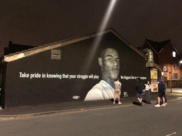Граффити сизображением Маркуса Рэшфорда. Фото Manchester Evening News