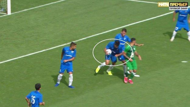 Спорный момент матча «Рубин»— «Сочи».