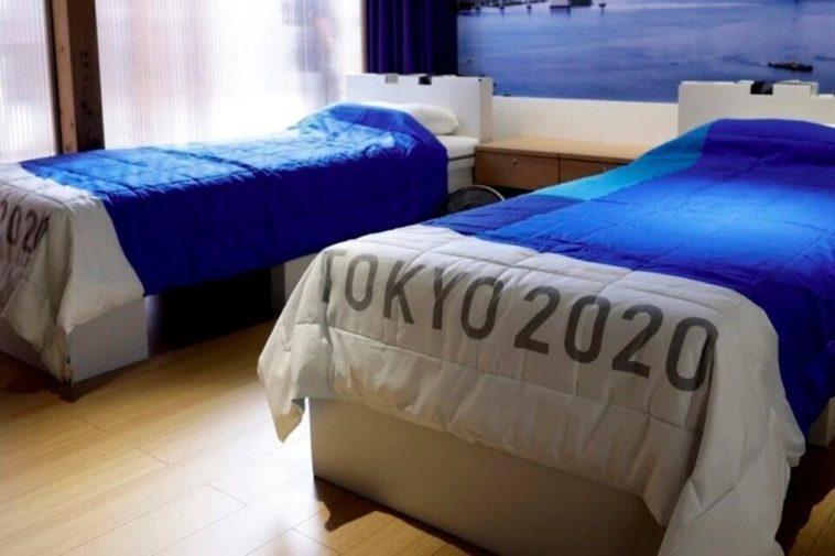 Кровати волимпийской деревне вТокио. Фото Twitter