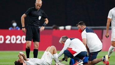 Дани Себальос вматче Олимпийской сборной Испании против Египта.