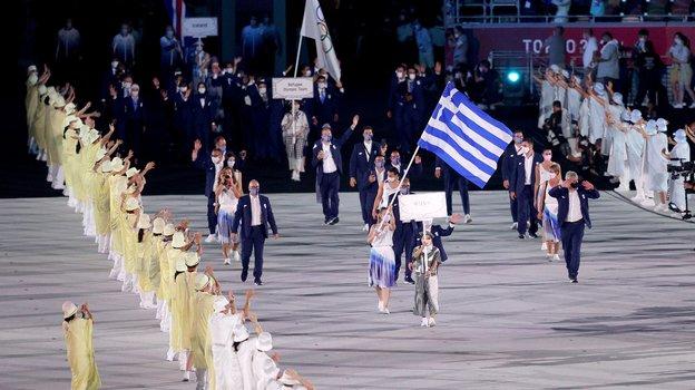 Сборная Греции нацеремонии открытия Олимпиады вТокио. Фото Twitter