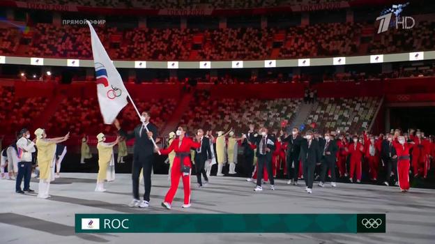 Команда России на церемонии открытия Олимпиады в Токио. Фото Скриншот трансляции Первого канала
