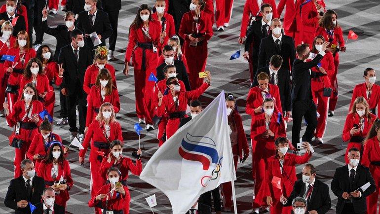 Команда России нацеремонии открытия Олимпиады вТокио. Фото AFP