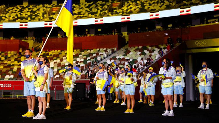Украинские спортсмены вовремя парада. Фото Getty Images
