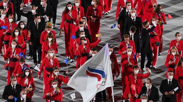 Российская команда напараде участников Игр. Фото AFP