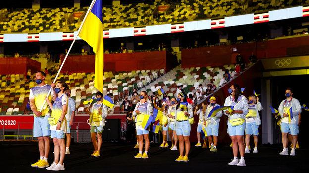Сборная Украины во время открытия Олимпиады. Фото Getty Images