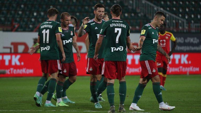 Федор Смолов празднует гол. Фото ФК «Локомотив»