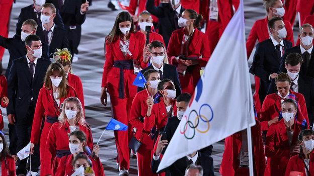 Российские спортсмены нацеремонии открытия Олимпиады. Фото AFP