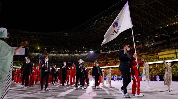 Российские спортсмены на церемонии открытия Олимпиады. Фото AFP