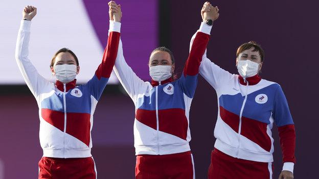 Светлана Гомбоева, Елена Осипова и Ксения Перова. Фото Getty Images
