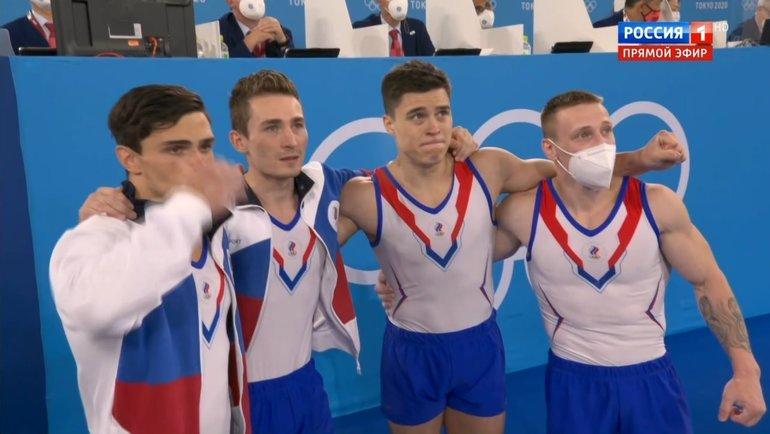 Российские гимнасты струдом сдерживали эмоции.