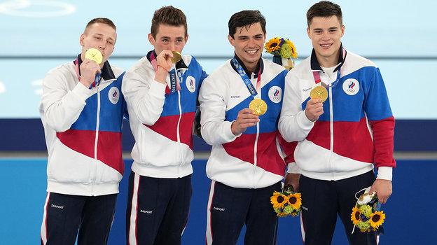 26июля. Олимпийские чемпионы изРоссии: Денис Аблязин, Давид Белявский, Артур Далалоян иНикита Нагорный (слева направо).
