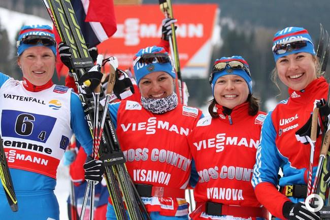 AFP  Юлия Чекалева, Алия Иксанова, Юлия Иванова и Мария Гущина.