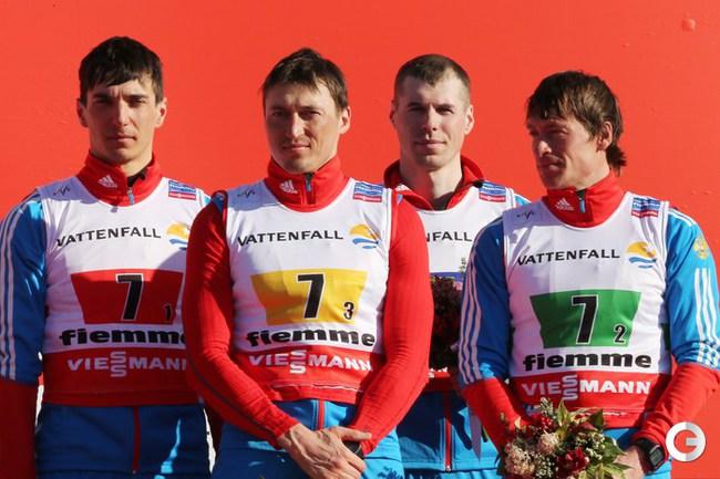AFP  Евгений Белов, Александр Легков, Сергей Устюгов и Максим Вылегжанин.