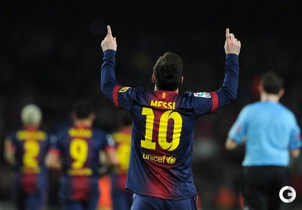 """18.03.2013. Барселона. """"Барселона"""" - """"Райо Вальекано"""" - 3:1. Лионель МЕССИ празднует очередной гол. Фото AFP."""
