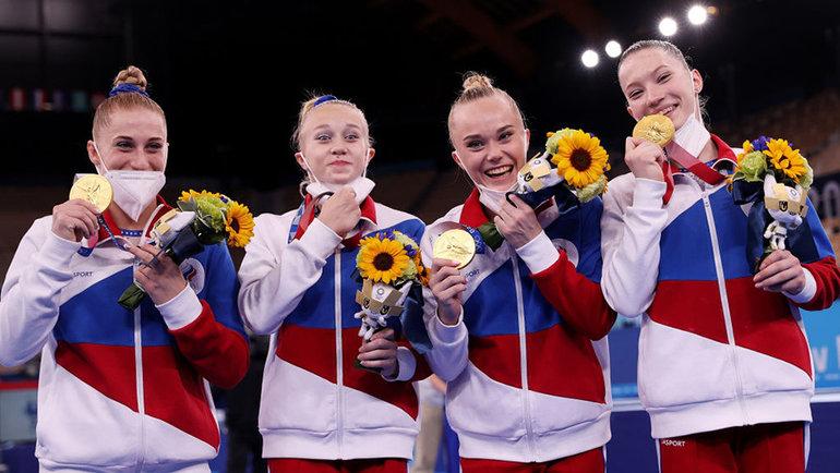 Российские гимнастки сзолотыми медалями. Фото Getty Images