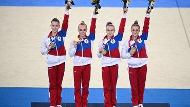 Лилия Ахаимова, Ангелина Мельникова, Виктория Листунова иВладислава Уразова. Фото AFP