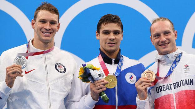 Райан Мерфи, Евгений Рылов, Люк Гринбенк. Фото Reuters
