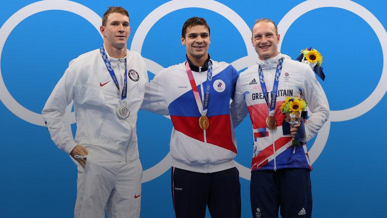 Райан Мерфи, Евгений Рылов, Люк Гринбенк. Фото AFP