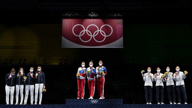 31июля. Токио. Российские саблистки выиграли золото Олимпиады. Фото AFP